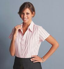 SIMON JERSEY PINK STRIPED SHORT SLEEVED BLOUSE OFFICE CORPORATE BUSINESS SHIRT