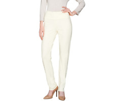 Women With Control Petite Tummy Control Seamless Pants Size M Winter White Color