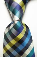New Classic Checks Blue White Yellow JACQUARD WOVEN Silk Men's Tie Necktie