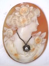 Antique Vintage Victorian Large Oval Shell Cameo Stone w/ Diamond Necklace O320