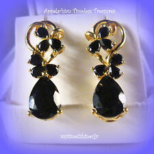 Natural Black Spinel Earrings 14K Yellow Gold 925 Sterling Silver TGW 9.25cts