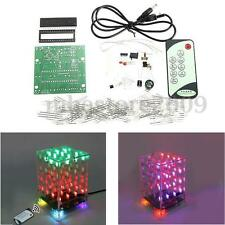 4x4x4 Dual Color LED Cube 3D Light Square Electronic DIY Kit w/ Remote Control