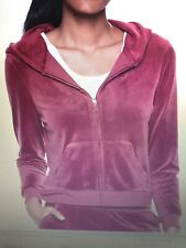 NWT Juicy Couture Velour Track SUIT Women Dark Pink Hoodie Jacket Pants Size M