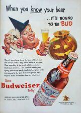 Vintage 1953 Budweiser Halloween Jack O Lantern Witch Costume Art - Print Ad