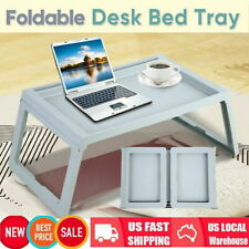 Breakfast Bed Tray Lap Desk Serving Table Foldable Legs Plastic Food Dinner US