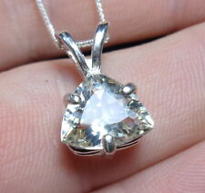 2.03ct N Carolina Golden BERYL (HELIODORE) Trillion .925 Sterling Silver Pendant