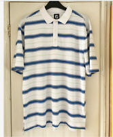 Footjoy FJ Mens White Blue Stripe Golf Polo Shirt Stretch Short Sleeve Size XL