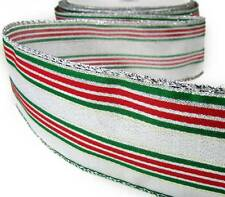 """5 Yd Christmas Metallic Silver Green Red Striped Wired Ribbon 2 1/2""""W"""