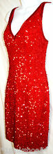 LILLIE RUBIN: Red Sequin Spangled Cocktail Party Dress, 100% Silk, Sz 6