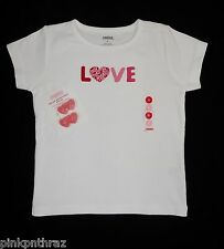 Girls Gymboree Valentine's Day 5 5T LOVE White Shirt Top Sweet Heart Hair Clips