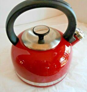 KitchenAid Red Full Handle 2 Qt. Whistling Tea Pot Stovetop Kettle WZ528