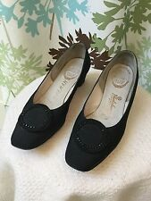 Vintage 60s black nylon wedge beaded medallion Delmas shoes Sz 6.5