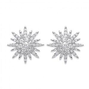 Sterling Silver CZ Starburst Stud Earrings,SER0495