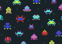 A1| Pixelated Aliens Poster Size 60 x 90cm Computer Game Poster Gift #15963