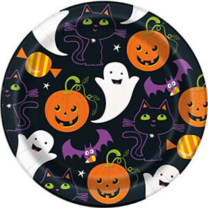 8 x Halloween Cat Ghost & Pumpkin Paper Party Plates Cute Family Friendly 18cm