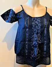 ABERCROMBIE & FITCH Top Womens Printed Cold Shoulder Blouse Size XS Blue NWT
