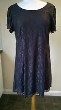 "Vera Moda dark purple floral lace fully lined dress Size UK XL Talle 34"" long"
