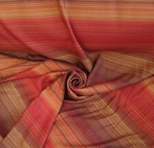 10 Metres Horizontal Stripe Cotton Sateen Curtain Fabric Material In Terracotta