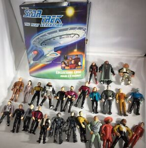 STAR TREK The Next Generation Collectors Case + Lot of 25 Loose FIGURES