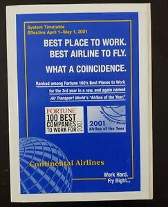 CONTINENTAL AIRLINES - SYSTEM TIMETABLE - 1 APRIL 2001