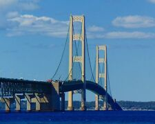 "New 8x10 Photo: Mackinac Bridge over the Straits of Mackinaw, ""The Mighty Mac"""