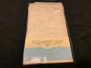 """Elizabeth Gray Off White Tablecloth 70"""" x 90"""" Oval NIP"""