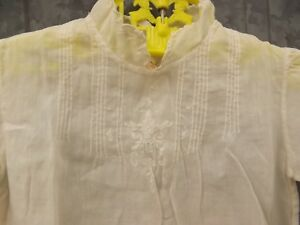 Vtg Handmade Imported Fine Linen Dainty Embroider Pintucked Baby Doll Dress 6 Mo