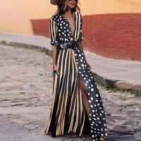 Boho Womens Summer Striped Spotted Maxi Long Dress Holiday Festival Shirt Dress