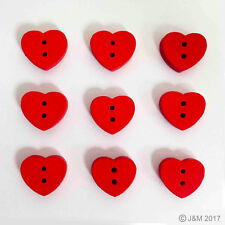 20 Red Heart Wooden Craft Sewing Buttons (W: 15mm x H: 13mm)