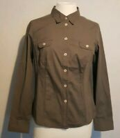 Ladies grey Cotton Long Sleeved Shirt By Boden size 12 uk slim fit 10/12 weekend