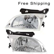 Halogen Head Lamp Assembly Set of 2 LH & RH Side Fits 2000-02 Chevrolet Cavalier