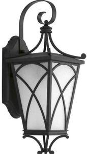 "Progress Lighting Cadence Collection 1-Light 16.25""  Outdoor Black Wall Lantern"