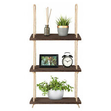 Hanging Wall Shelf Wood Floating Swing Rope Shelves,3-Tier Decor Collectible