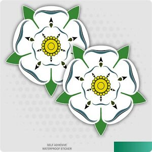 2 x Yorkshire Rose Self Adhesive Stickers Car Van Truck Taxi Lorry