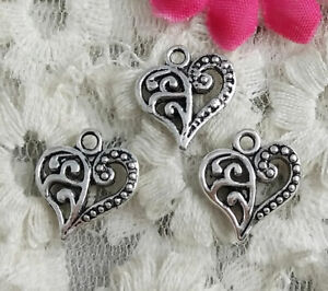 Free Ship 100 pcs Antique silver leaves heart charms 14x13mm H-4210