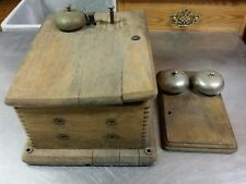 Antique Stromberg-Carlson Tiger Oak Telephone Ringer Box Only & Bell for Parts