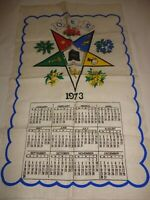 Vintage 1973 Order of the Eastern Star Linen Calendar Towel
