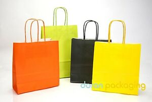 Coloured Paper Bag Twist Handle Party Gift Carrier / Bags With Handles - Small