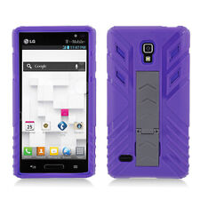 Purple Hybrid Hard Case Cover with Purple Silicone Inner for LG Optimus L9 P769