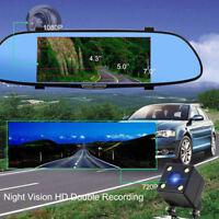 HD 1080P Dual Lens 7'' Rearview Mirror Camera Recorder DVR Dash Cam Touch Screen