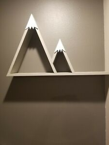 """One of A Kind Hand Crafted Mountain Shelf Wood Painted Gray 21"""" x 34"""" x 6"""""""