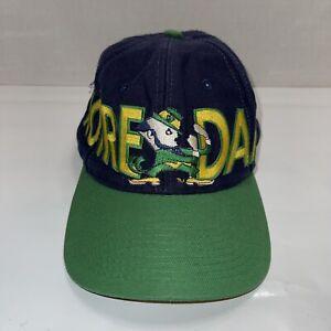 vintage notre dame snap back spellout irish Logo  hat blue green Football