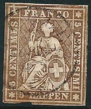 SWITZERLAND - 1856  5Rp 'DEEP BROWN' (Black Thread) SG 34a GU Cv £250 [A2775]*