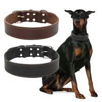 Plain Genuine Leather Dog Collar Heavy Duty Adjustable Pet Collars for Large Dog