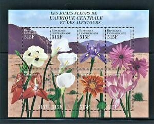 CENTRAL AFRICAN REPUBLIC 2000 FLOWERS MINI SHT OF 8 DIFFERENT SCT 1311