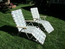 2 Nice Vintage Folding Lounge Chairs Aluminum Webbed Beach Lawn Patio Chaise