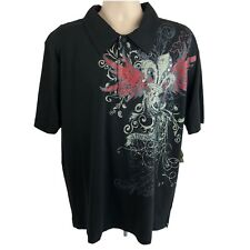 De/Coded Men's Size 2XL Polo Shirt Graphic Printed Black Short Sleeve Cotton NEW