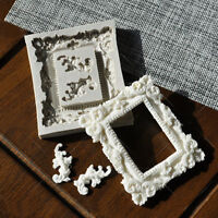 Mirror Frame Scroll Vintage Silicone Fondant Mould Cake Decor Baking Icing Mold