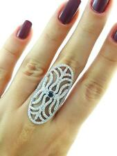 Turkish Handmade 925 Sterling Silver Jewelry Onyx Long Finger Ring Sz 6.5 R2419
