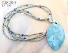 GENUINE SAJEN STERLING SILVER, DIFFUSED TURQUOISE PENDANT & NECKLACE